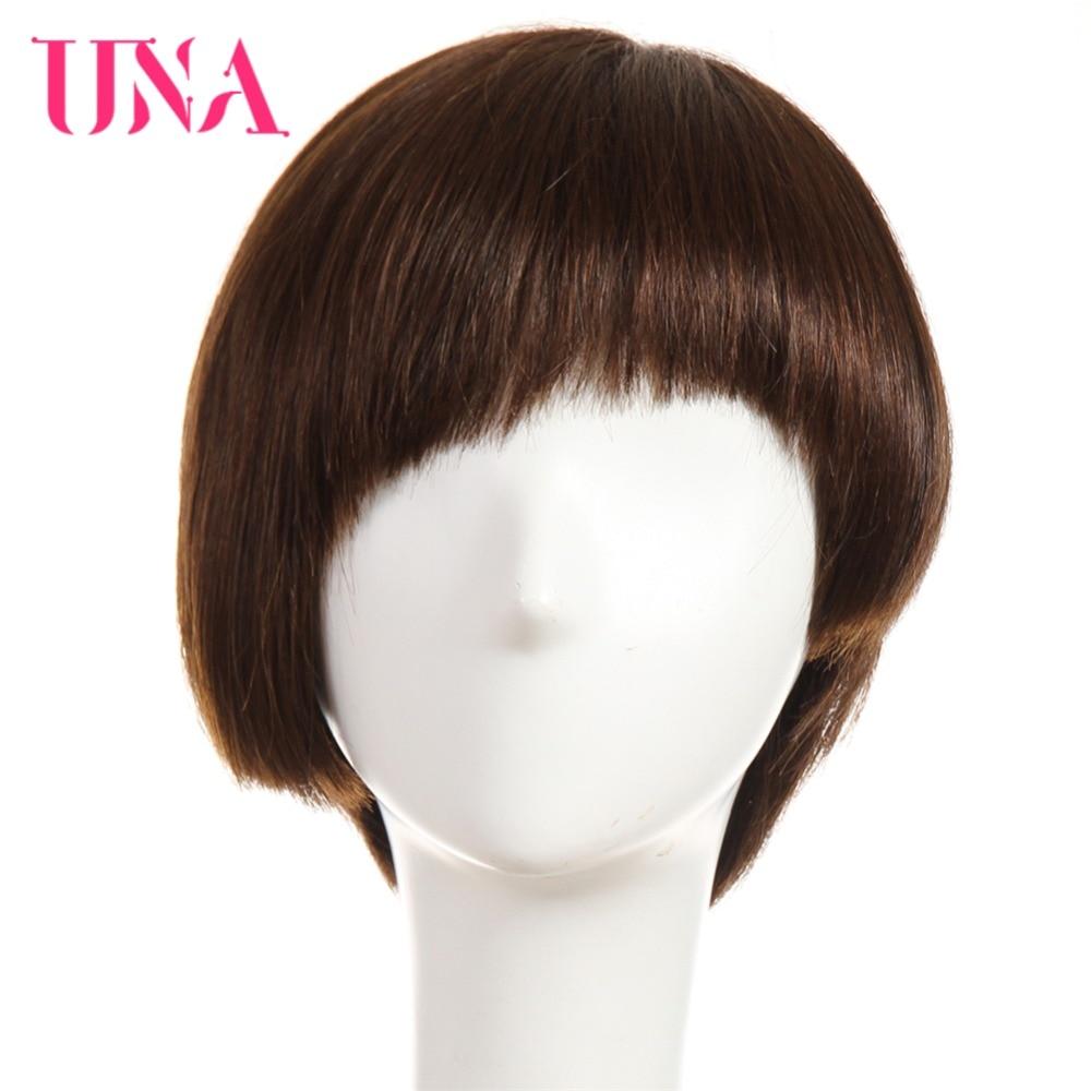 UNA Straight Human Hair Wigs Peruvian Straight Hair Non-Lace Front Human Hair Wigs Peruvian Non-Remy Hair 10 Medium Length Wigs