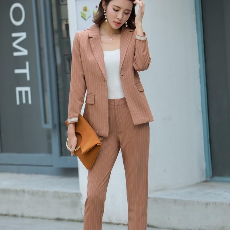 d9be4b20e433 Mode Work Pant Anzüge 2 Stück Setzt Casual Gestreiften Jacke Blazer    Reißverschluss Hose Büro Lady