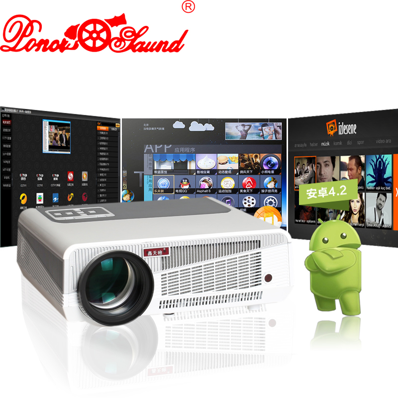Poner Saund Full Hd New Mini Projector Proyector Led Lcd: Poner Saund Full HD Projector Android 4.4 Projetor LCD