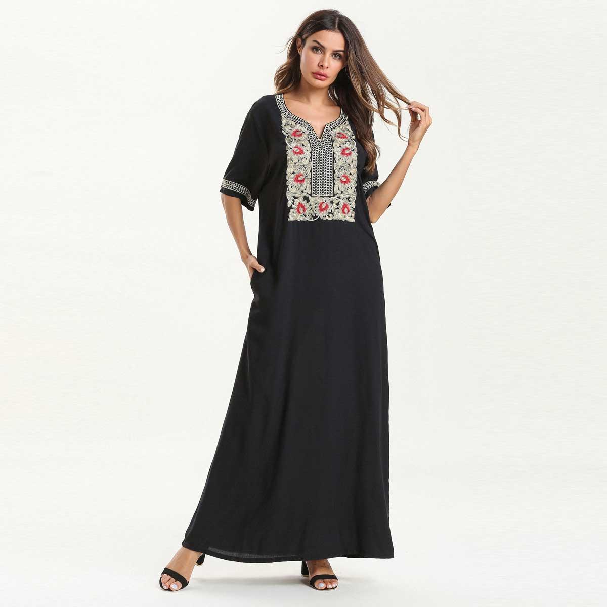 d8f79a627fc08 2019 Summer Embroidery Bohemian Maxi Dress Short Sleeve Black Muslim Abaya  Dubai Islamic UAE Arabic Cotton Robe VKDR1559