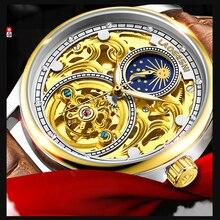 Saat Masculino LAOGESHI 新トップブランドメンズ機械式時計自動ファッション高級レザー透かし彫刻防水レロジオ