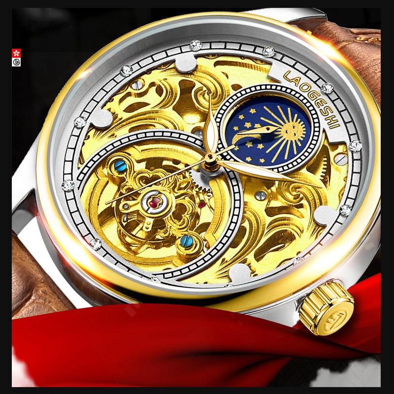 LAOGESHI חדש למעלה מותג גברים מכאני שעון אוטומטי אופנה יוקרה עור העמודים גילוף עמיד למים Relogio Masculino Saat-בשעונים מכניים מתוך שעונים באתר