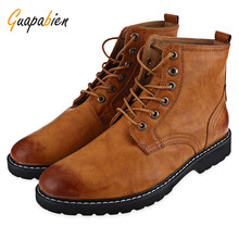 Guapabien Fashion Men Fall Winter Boots Shoes Casual Round Toe Pure Color Lace-up PU Leather Ankle High Flat Boots For Male