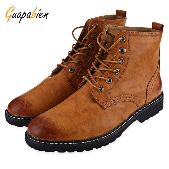 Guapabien Moda Hombre Otoño Invierno Botas Zapatos de Punta Redonda Ocasionales Color puro con cordones de LA PU de Cuero Del Tobillo Botas Planas Altas Para masculino