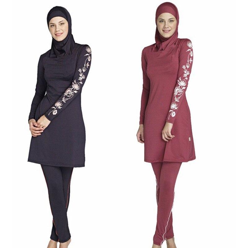 Nouveau femmes grande taille imprimé Floral musulman maillot de bain conservateur Hijab Muslimah islamique maillot de bain nager Surf porter Sport Burkinis