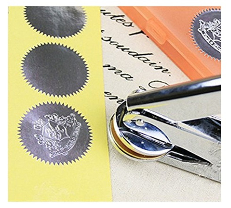 100pcs Silver Vintage Embosser Stamp Sealing Blank Certificate Self-Adhesive Stickers (Silver)