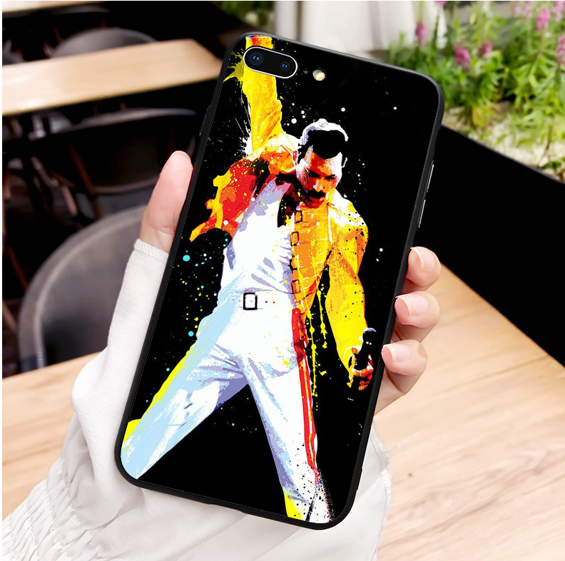 Freddie Mercury Queen Black soft silicone TPU Phone Cover Case For iPhone Max XR XS X10 5 5S 5SE 6 6SPLUS 7 7Plus 8 8Plus in Phone Pouches from Cellphones Telecommunications