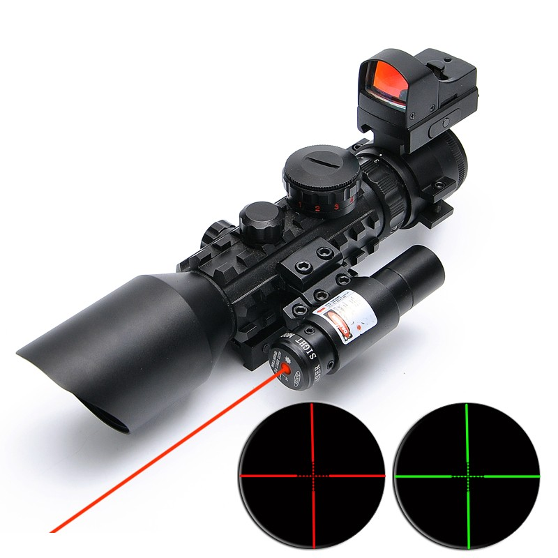 SPIKE 3-10x42 optic tactical rifle scopes with red laser sight and reflex sight for hunt ...
