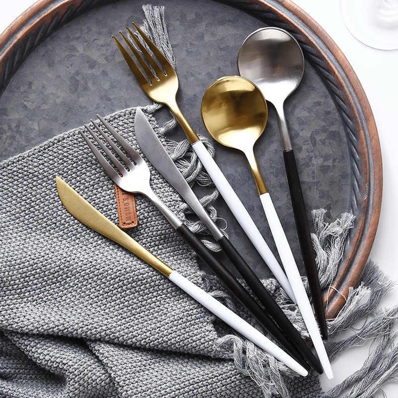 ขายร้อน 4 Pcs สีดำ 18/10 ชุดช้อนส้อมสแตนเลสอาหารเย็นมีดสเต็กส้อมช้อนชา Party ของขวัญครัวอาหารบนโต๊ะอาหารชุด