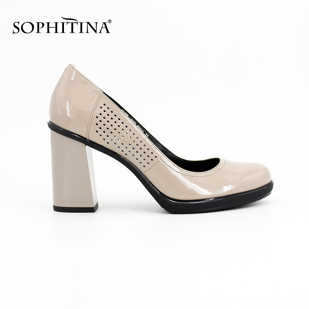 SOPHITINA Brand Elegant Ladies Pumps Round Toe Thick heel Beige hollow Patent Leather Super high heels office shoes women D028