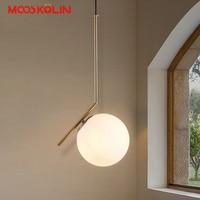 30cm 40cm Nordic Modern White Glass Pendant Lights LED Iron Ball Hanging Lamp For Kitchen Bar