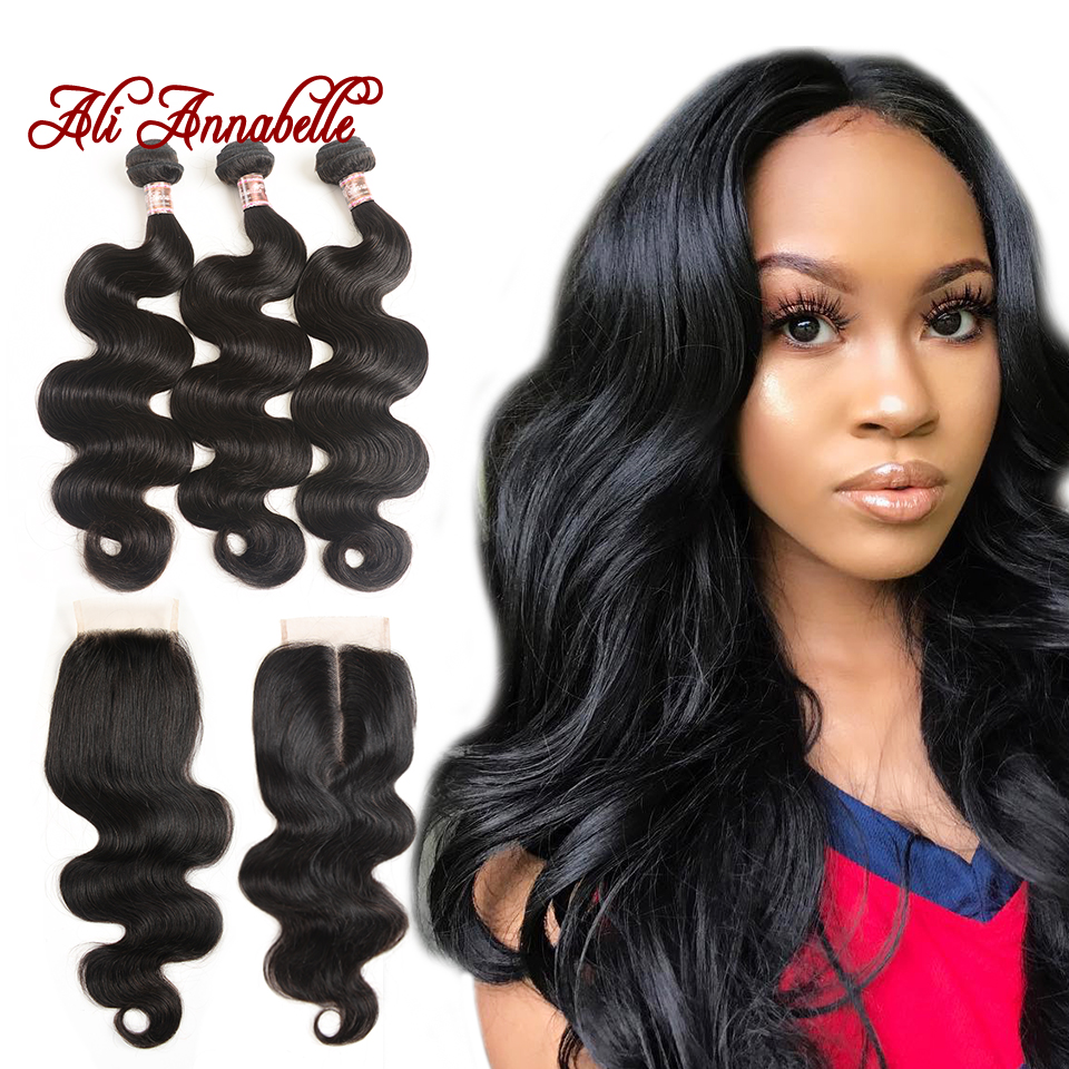 Malaysian Hair Body Wave 3 Bundles With Lace Closure 100 Human Hair Weave Bundles With 4x4