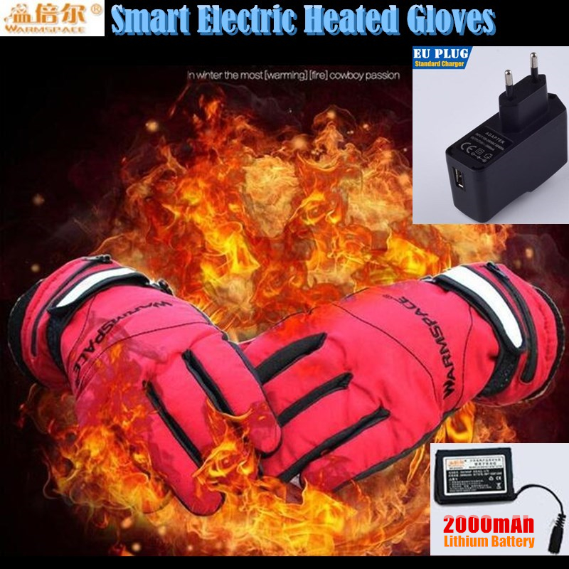 2000MAH Children Smart Electric Heating Gloves,Super Warm Outdoor Sport Ride Skiing Gloves Lithium Battery Hand Back Self Heated