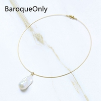 BaroqueOnly One Baroque Big Pearl 25 30mm Pendant Choker High Luster Oyster Shell Freshwater Pearl Simple Style Accessory