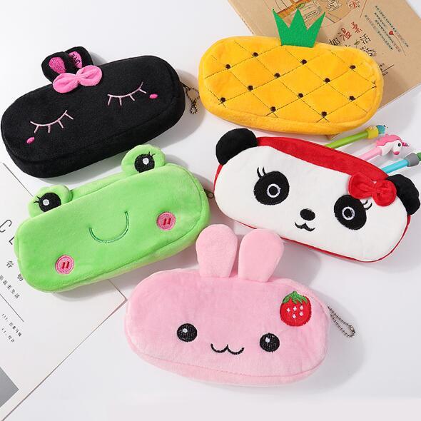Kawaii Funny Animal Rabbit Plush Pencil Case Creative Cartoon Desk Organizer Pencil Bag For Girls And Boys School Birthday Gift