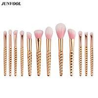 Rose Gold Make Up Brushes For Women Pack Of 12Pcs Honeycomb Makeup Brush Kit Beauty For