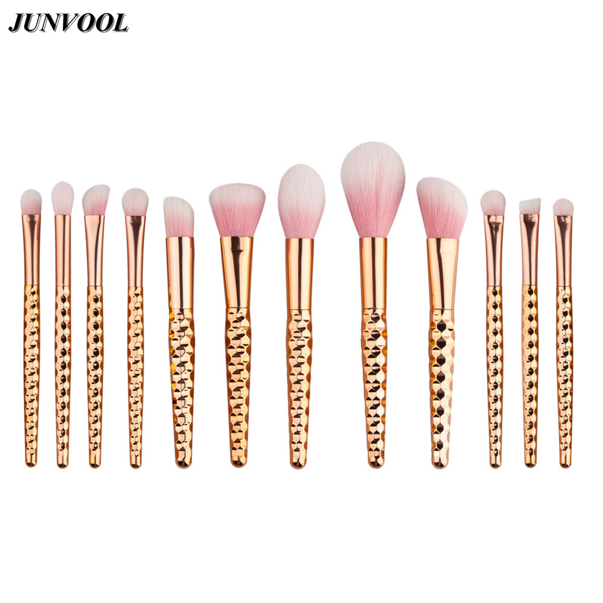 Rose Gold Make-up Brushes for Women Pack of 12Pcs Honeycomb Makeup Brush Kit Beauty for Eye Brush Eyeshadow Cosmetic Tools Set