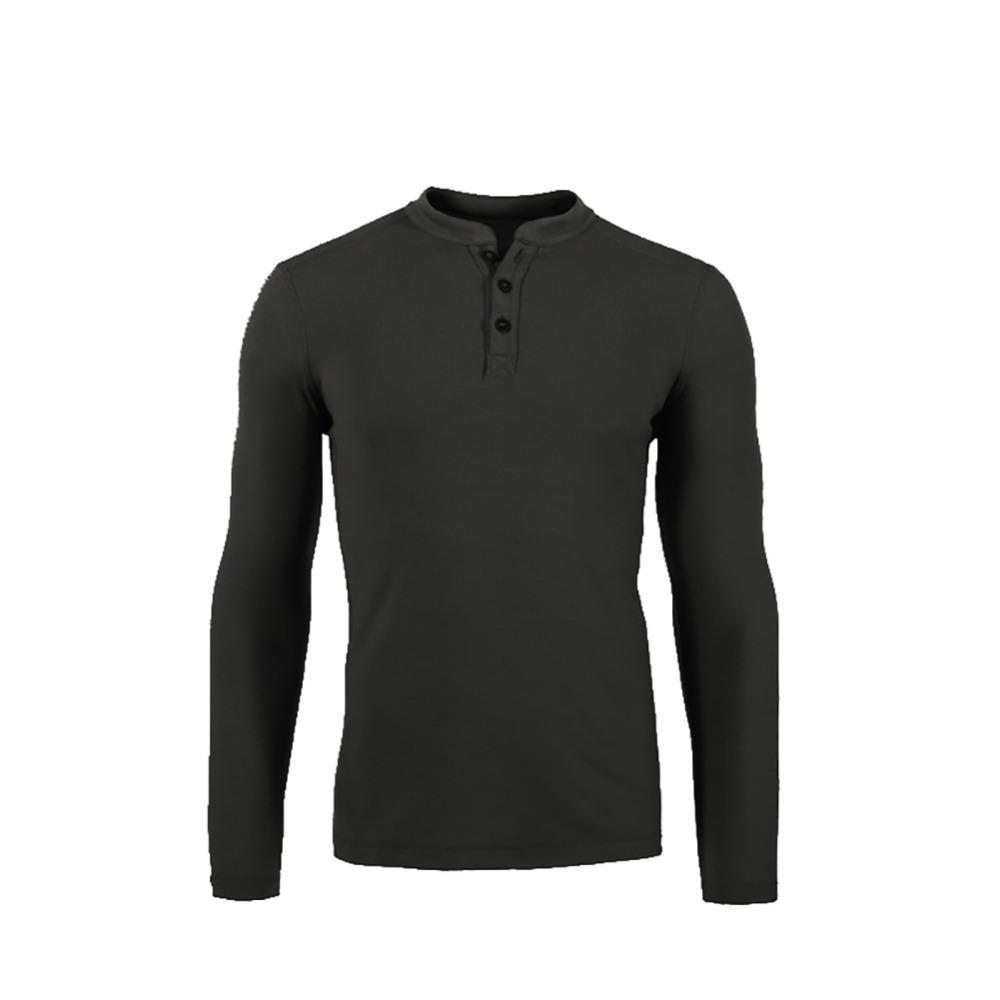 Huntsman Henley Men 100% lana Merino Jersey Capa base Manga larga Top de peso medio Puerta de salida Calentador térmico estilo TAD camisa