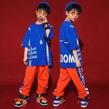 Детские танцевальные костюмы в стиле хип-хоп с коротким рукавом для девочек и мальчиков, одежда для джазовых бальных танцев футболка Топы, штаны для бега Одежда для танцев