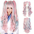 Lolita Wig Pink Blue Mixed Ombre Long Curly Clip-In Ponytails Full Bangs Cosplay Wig Party Wigs HB88