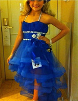 Cute High Low Little Flower Girls Pageant Dresses For Kids Glitz Beaded Organza Royal Blue Halter