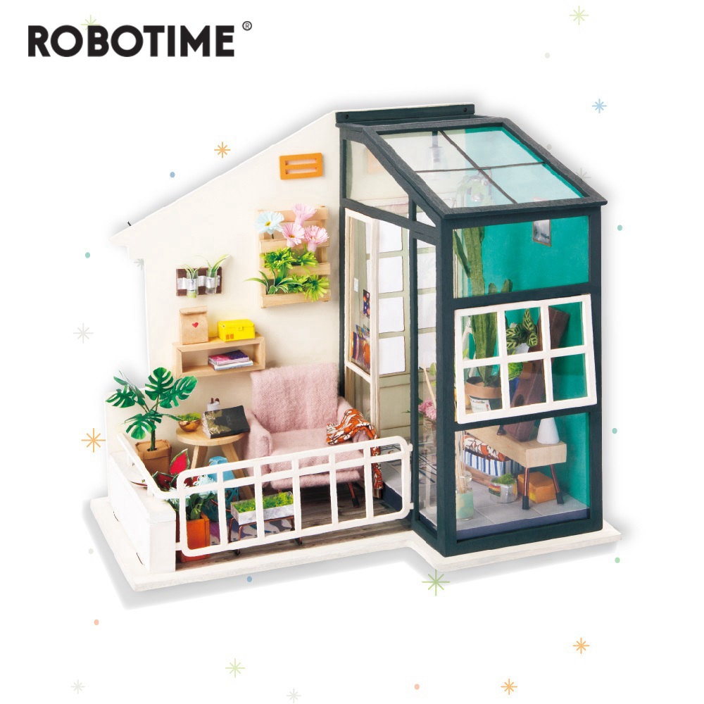 Robotime DIY Balcony Daydreaming with Furniture Children Adult Miniature Wooden Doll House Model Building Dollhouse Toys DGM05Robotime DIY Balcony Daydreaming with Furniture Children Adult Miniature Wooden Doll House Model Building Dollhouse Toys DGM05