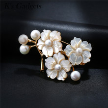 K's Gadgets Vintage Flower Pins Brooches For Women Natural Shell Bouquet Fashion Pearl Dress Scarf Wedding Safety Pin Brooch