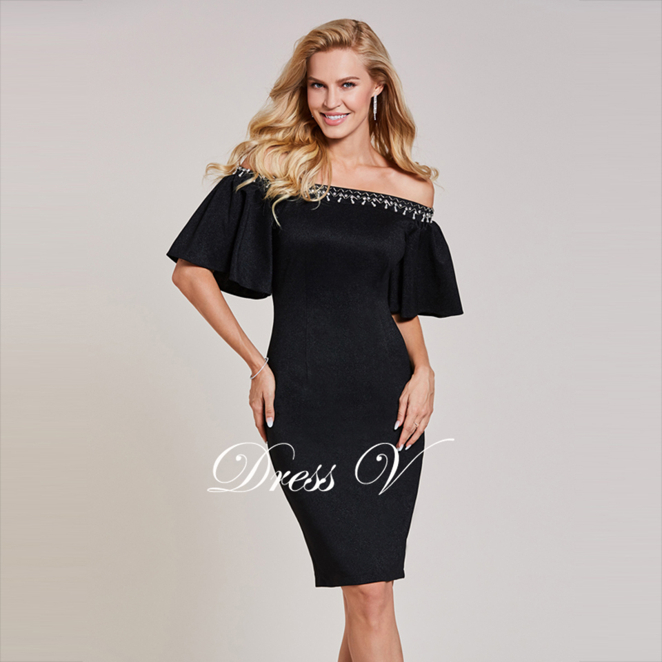 Dressv black cocktail dress cheap off the shoulder knee length half ...