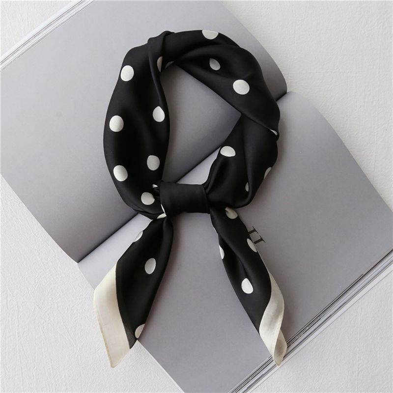 Vintage Polka Dot Office Lady Square Neck Scarf Women Faux Silk Contrast Color