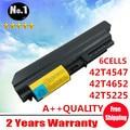 Venta al por mayor nuevos 6 celdas de la batería del ordenador portátil para ThinkPad R61R400T61 Z60 serie 42T4530 42T4531 42T4547 42T4652 42T5225 envío gratis