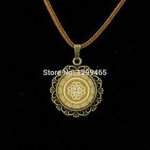 Yoga Pendant Art lass Dome Leather Necklace Mandala Buddhism Jewelry Vintage Flower Henna Tattoo Mandala Necklace  L 301