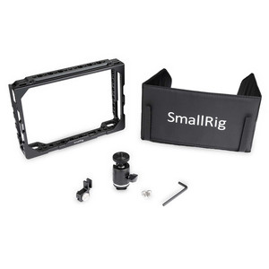 """Image 4 - Petite Cage de moniteur avec pare soleil pour Blackmagic Design moniteurs 7 """"avec pince HDMI + Kits à rotule 1988"""