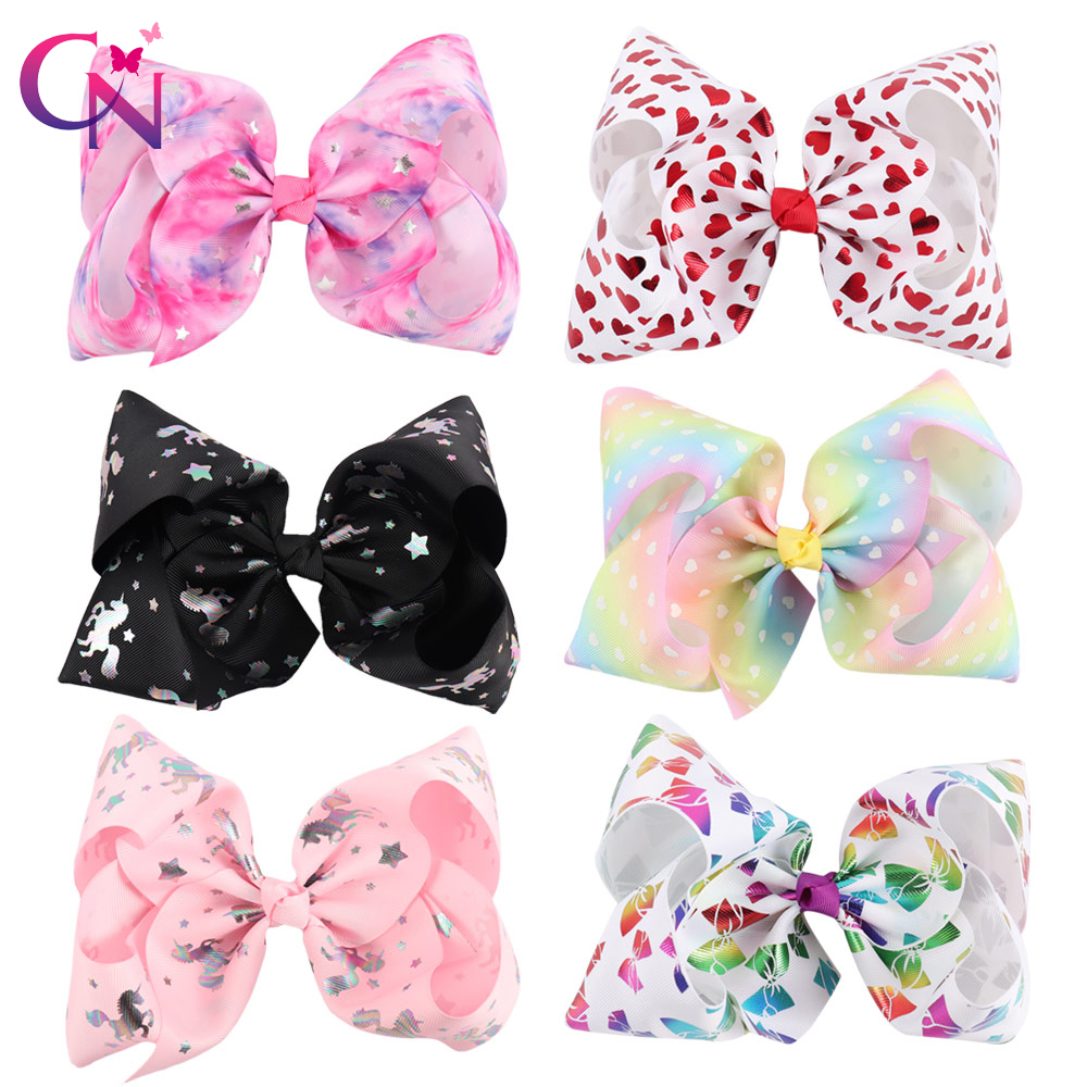 6 Pieces/lot 7 Unicorn Hair Bows With Clips For Kids Girls Handmade Large Metalic Prints Ribbon Bows Hairgrips Hair Accessories 2pcs lot printed crown hair bows layered grosgrain ribbon hairbow for kids girls hairgrips handmade hair accessories