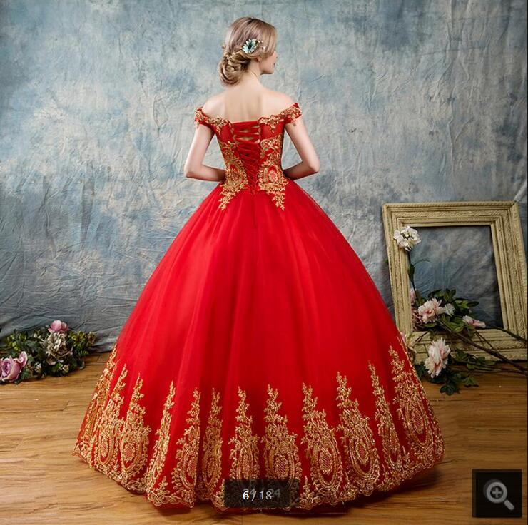 2017 cheap new arrival red lace ball gown wedding dress princess ...