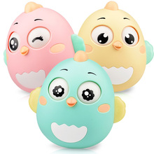 3 Styles Cartoon Nighthawk Round Blink Tumbler Safe ABS Early Education Montessori Toys Baby Music Rattle Toy Children Kid Gift