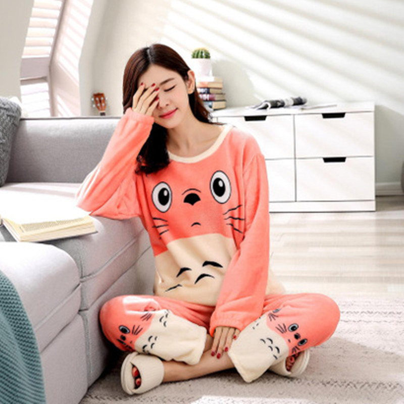 Winter Female   Pajama   Polyester Full Trousers Lady Two Piece   Pajama     Set   cartoon Cat Print Home Clothing Womeas   Sets   Free Shipping