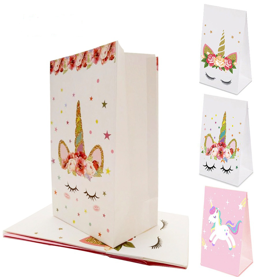 10PCS White/Pink Unicorn Paper Bag DIY Birthday Party Decoration Kids Gift Wedding Favors And Gifts Supplies