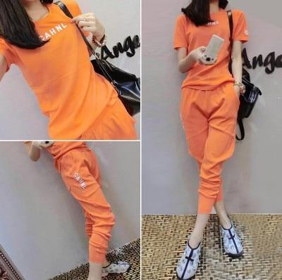 Two pieces set women tracksuit outfits casual fashion printing Letter t-shirt tops+Haren pants motion sets sweatshirt 53
