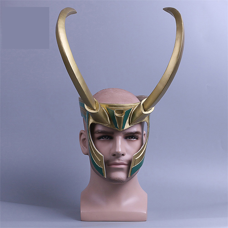 Thor 3 Ragnarok Loki Laufeyson Cosplay Mask Helmet Halloween Props Christmas Gift PVC Golden Mask Accessories