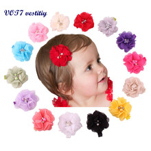 VOT7 vestitiy 2017 Fashion Cute Chiffon Flower Hair Clips Baby Girl Hairpins Children Hair Accessories Oct 12