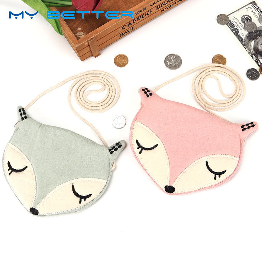 Hot Sale Fashion Cute Baby Fox Coin Purse Kids Storage Bag Pouch Single Shoulder Messenger Bag