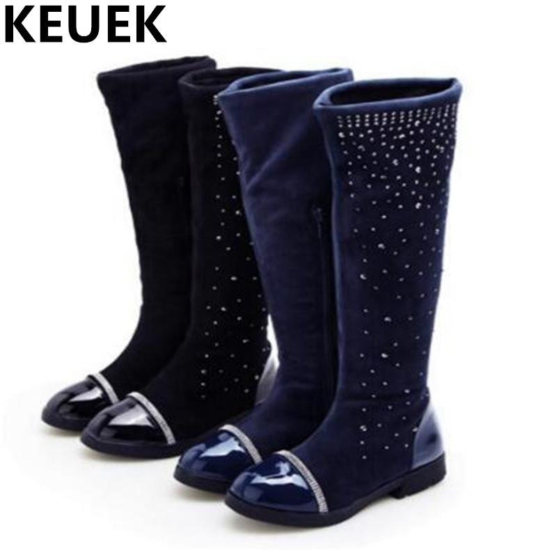 NEW Winter Crystal Stretch Flock Knee High Boots Girls PU Leather Fashion Boots Children Shoes Kids