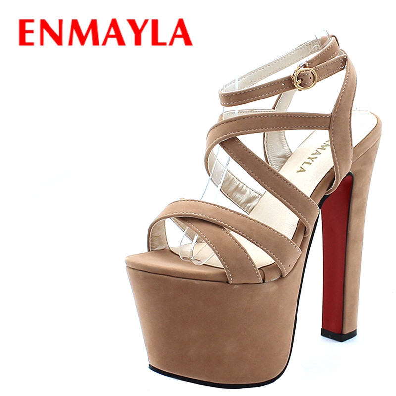 ENMAYLA Rome Flock Super <font><b>High</b></font> Platform Gladiator Sandals Women <font><b>17cm</b></font> Open Toe <font><b>High</b></font> <font><b>Heels</b></font> Pumps Womens <font><b>Sexy</b></font> Lady Party Shoes Woman image