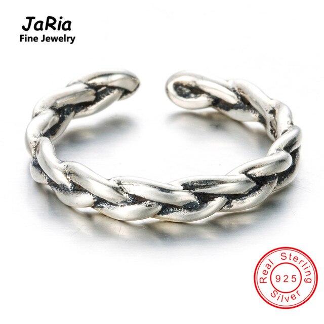 Jaria 925 de plata simple strackable guita anillos brazalete ajustable s925 astilla esterlina anillos ajustables de la joyería fina