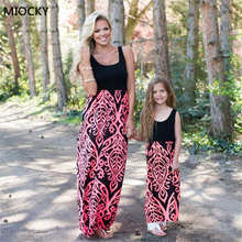 mother daughter dress family matching outfits mom and daughter Print Maxi Dress baby girl summer mommy and me clothes E0132