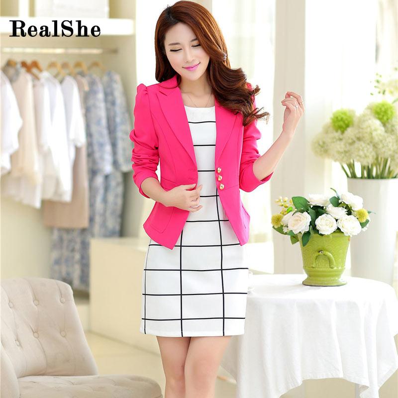 Realshe 2016 женщины куртка с длинным рукавом feminina костюм blazer женщин вскользь блейзер mujer плюс размер blazer feminino куртки