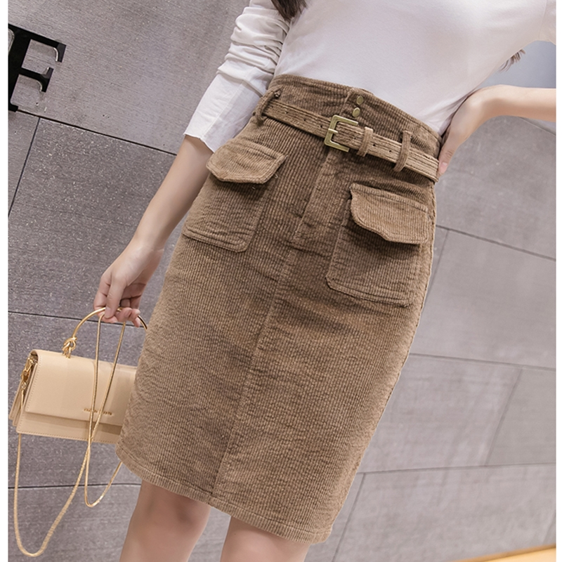 woman solid corduroy skirt office lady style knee-length sashes skirt Elegant lady empire High-waisted skirt autumn winter new
