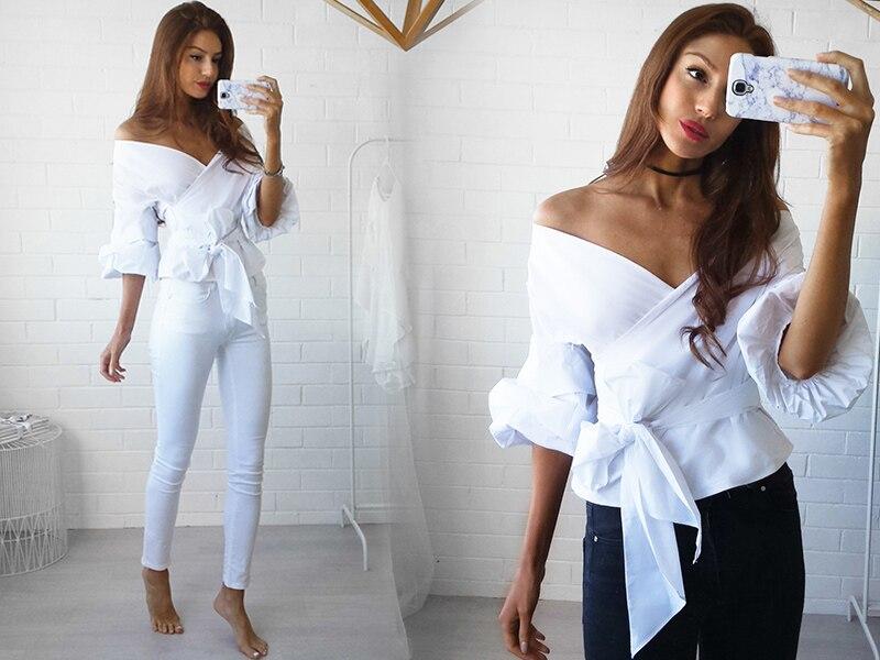 HTB1ntrnNFXXXXcoXpXXq6xXFXXXw - Shoulder ruffle white blouse Sexy cotton cool blouse shirt women