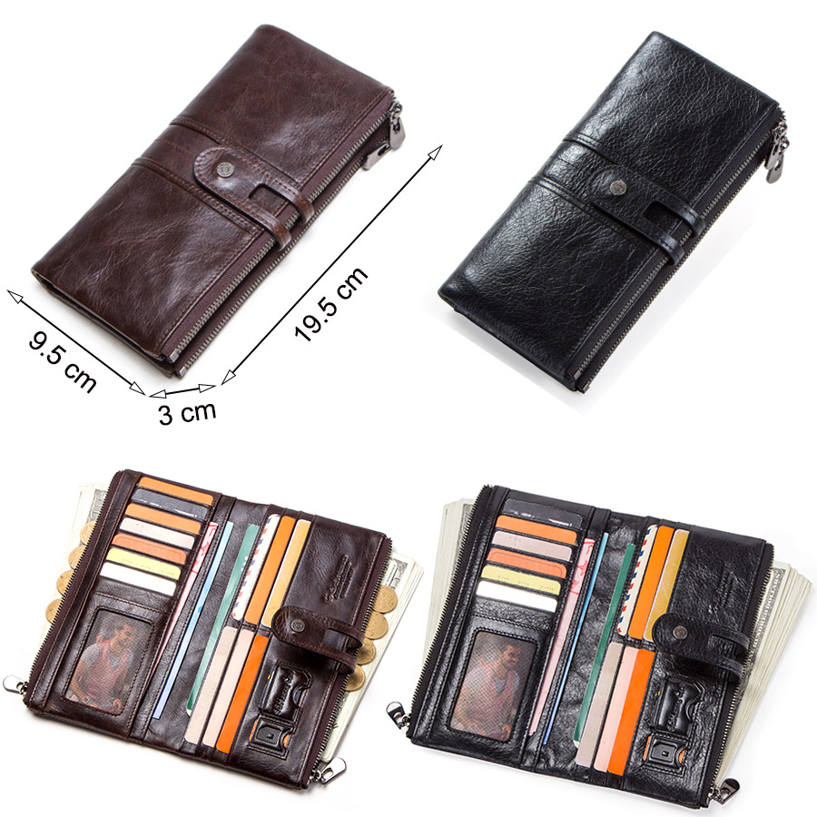 CONTACT'S men clutch hot sale genuine leather long wallet male coin purse zipper money bag for iphone8 portemonnee men's walet 2