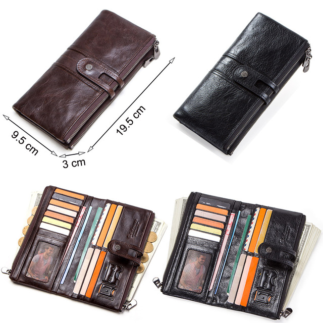 CONTACT'S men clutch hot sale genuine leather long wallet male coin purse zipper money bag for iphone8 portemonnee men's walet 2
